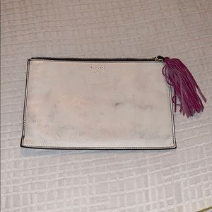 Fossil white w/ pink accents leather cosmetic bag